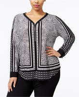 INC International Concepts Plus Size Printed Zip-Up Top, Only at Macy's