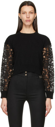 Dolce & Gabbana Black Cashmere and Lace Sweater