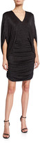 Halston Metallic Knit V-Neck 1/2-Sleeve Ruched Dress