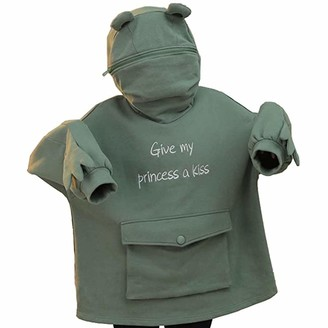 TJCJIEM Ladies Creative Design Frog Hooded Pullover Long Sleeve Jumper Splicing Three-Dimensional Casual Sweater with Big Pocket for Women (Green L)