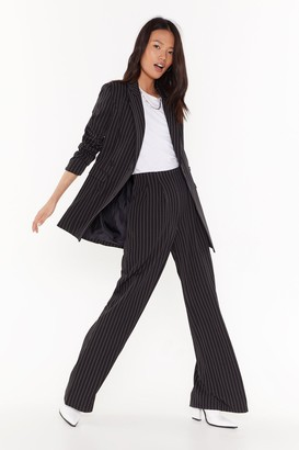 Nasty Gal Womens Unfinished Business Pinstripe Wide-Leg trousers - Black - 6, Black