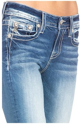 Miss Me Single Cuffed Mid-Rise Capris in Medium Blue (Medium Blue) Women's Jeans