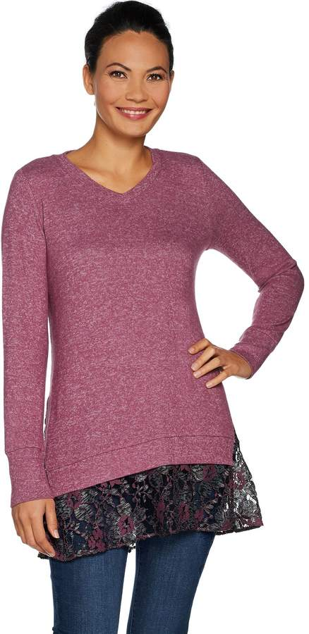 Melange Home Logo By Lori Goldstein LOGO by Lori Goldstein Brushed Sweater Top with Lace Hem