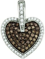 DazzlingRock Collection 0.54 Carat (ctw) 10k White Gold Round White & Diamond Ladies Heart Pendant