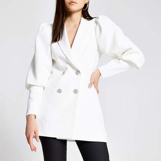River Island White puff sleeve double breast fitted blazer