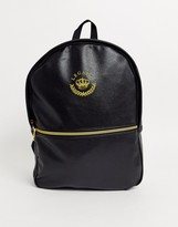 Asos Design DESIGN backpack in black faux leather with gold embroidery