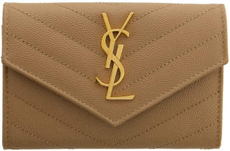 Saint Laurent Beige Small Monogramme Envelope Wallet