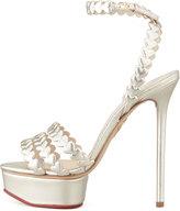 Charlotte Olympia Clotte Olympi I Heart You Metallic Platform Sandal, Platinum