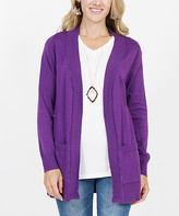 Lydiane Women's Open Cardigans PURPLE - Bright Purple Ribbed-Hem Pocket Open Cardigan - Women