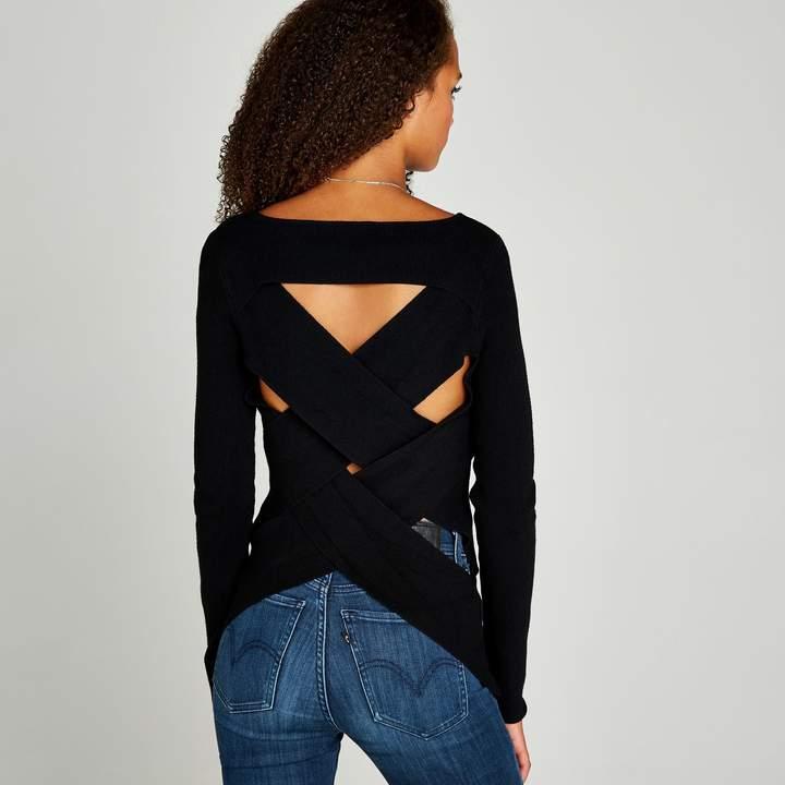9572944c91f Black Woven Cross Back Knitted Jumper