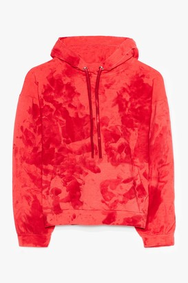Nasty Gal Womens Cool to Be Kind Plus Tie Dye Cropped Hoodie - Red