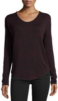 Rag & Bone Hudson Heathered Long-Sleeve T-Shirt, Port/Black Multi