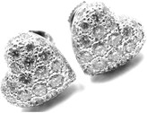 Cartier 18K White Gold & 1ct Diamond Heart Earrings