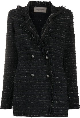 D-Exterior Double-Breasted Tweed Jacket