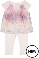Ted Baker Baby Girls' Light Pink Woodland Print Tulle Top And Leggings Outfit