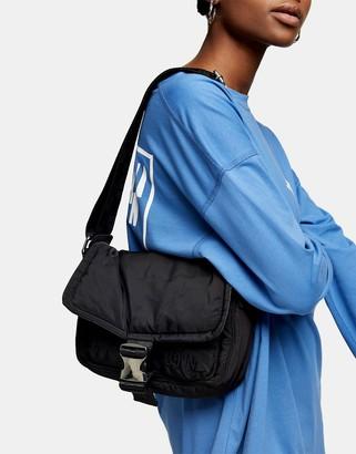 Topshop nylon shoulder bag with adjustable strap in black
