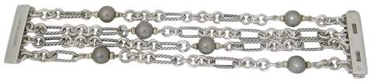 David Yurman 925 Sterling Silver & 18K White Gold with Black Pearl 4 Row Cable Link Bracelet