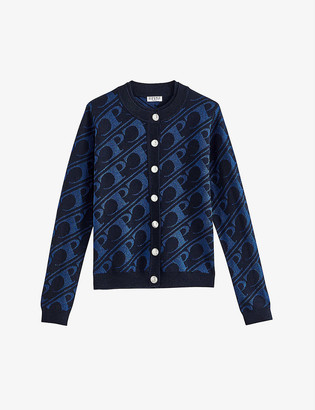 Claudie Pierlot Medallion logo-embossed knitted cardigan