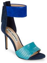 Karl Lagerfeld Paris Laken Suede and Leather Stiletto Heels