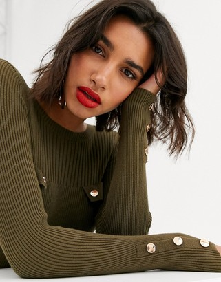 Asos DESIGN rib sweater with button pocket detail