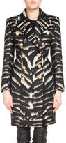 Balmain Double-Breasted Zebra-Print Coat