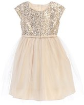 Sweet Kids Little Girls Champagne Sequin Top Overlaid Occasion Dress