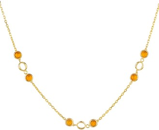Latelita Milan Link Gemstone Necklace Gold Citrine