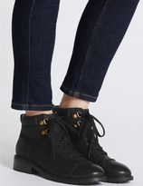 Marks and Spencer Block Heel Lace-up Toe Cap Ankle Boots