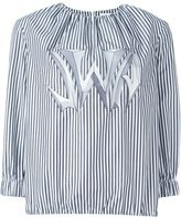 J.W.Anderson graphic logo striped blouse - women - Cotton - XS