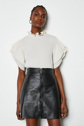 Leather Zip Front Mini Skirt