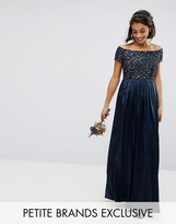 Maya Petite Sequin Top Bardot Maxi Sateen Skirt Dress