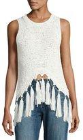 A.L.C. Carmelita Sleeveless Crochet Tassel Top, White