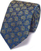 Charles Tyrwhitt Navy and Gold Silk Vintage Paisley Luxury Tie Size OSFA