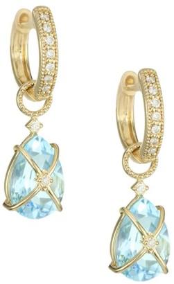 Jude Frances Tiny Criss-Cross 18K Yellow Gold, Diamond & Pear Topaz Earring Charms