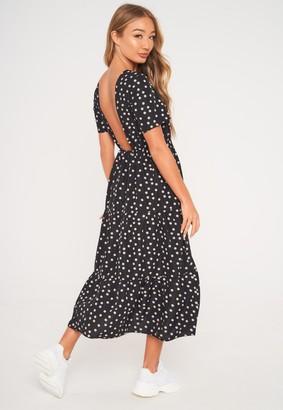 Missguided Black Polka Dot Open Back Midi Smock Dress