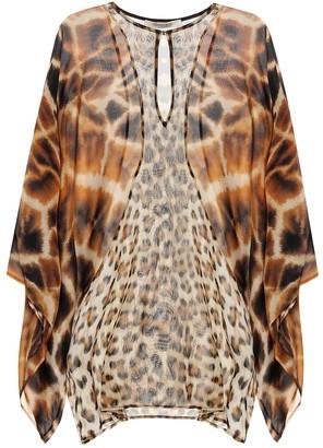 Roberto Cavalli Animal-print silk kaftan