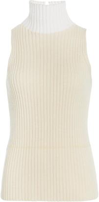 Victoria Beckham Mock Neck Cotton-Blend Ribbed Tank Top