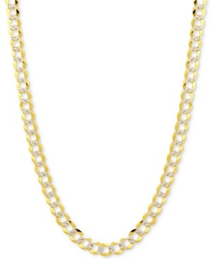 "Italian Gold 28"" Two-Tone Open Curb Link Chain Necklace in Solid 14k Gold & White Gold"