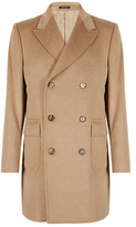 Made in Italy Camel Hair Double Breasted Coat with Wool