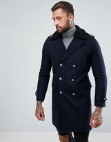 Asos Wool Mix Trench Coat With Borg Collar In Navy