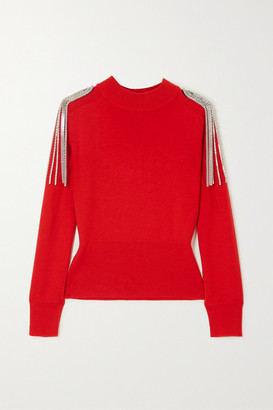 Christopher Kane Cropped Chain-embellished Merino Wool Sweater - Red