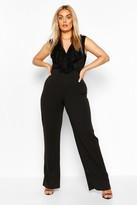 boohoo Plus Lace Ruffle Wrap Wide Leg Belted Jumpsuit