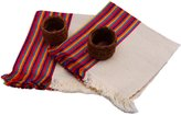 Little Artisans Beautiful Embroidery Mexican Napkin Set of 2 and 2 handmade Granadillo rings