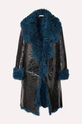 Michael Kors Shearling-lined Glossed Cracked-leather Coat - Blue