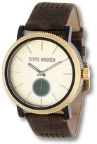 Steve Madden Men's Classic Luxury Fashion Analog Stainless Steel Watch w/ Comfortable Leather Band