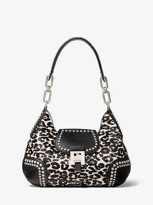 Michael Kors Bancroft Medium Leopard Calf Hair and Studded Leather Shoulder Bag
