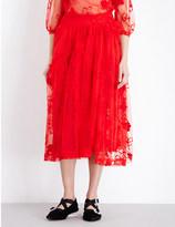Simone Rocha Spooky Flower-embroidered tulle midi skirt