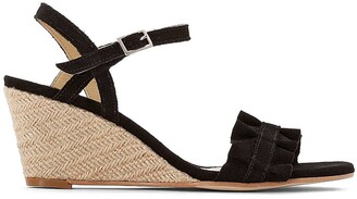 La Redoute Collections Suede Ruffled Strap Woven Wedge Sandals
