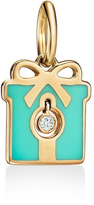 Tiffany & Co. & Co. Charms diamond box charm in 18k gold with Blue enamel finish