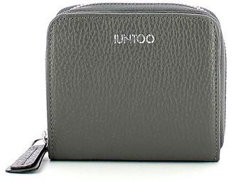 Iuntoo Gray Leather Armonia Zip Around Small Women's Wallet